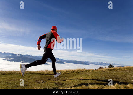 man jogging in an alpine pasture, Italy - Stock Photo