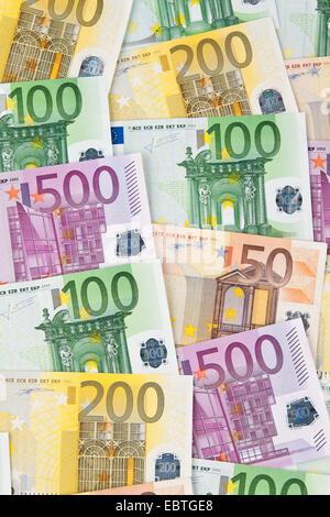 Many Euro banknotes of the European Union - Stock Photo