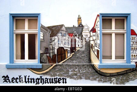 painted house wall, Germany, North Rhine-Westphalia, Ruhr Area, Recklinghausen - Stock Photo