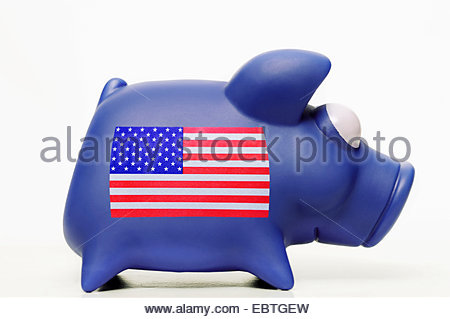 piggybank with the Star-Spangled Banner symbolising the 'national debt of the USA' - Stock Photo