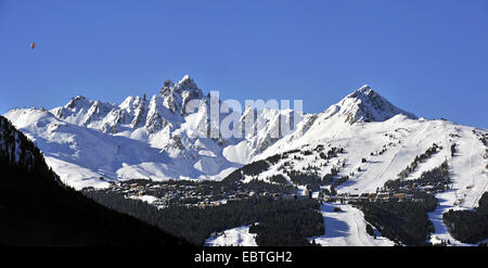 view to ski ressort Courchevel 1850, France, Savoie - Stock Photo
