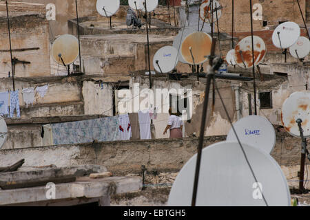 view to roofs and satellite dishes of the old city, Morocco, Fes - Stock Photo