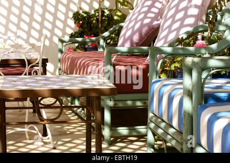 comfortable seating area on a roof terraces, Morocco, Essaouira - Stock Photo