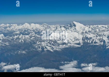 Taken from the airplane from Bhutan to India. Mount Everest is 8848 meters high is highest mountain in the world. - Stock Photo