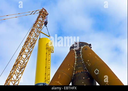 tripods for wind wheels being shipped at Labradorhafen, Germany, Bremerhaven - Stock Photo