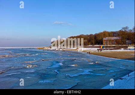 view over the icy Jade Bay at the spa hotel, Germany, Lower Saxony, Frisia, Dangast - Stock Photo