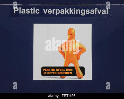 poster on a dustbin for plastic calling for waste separation - Stock Photo