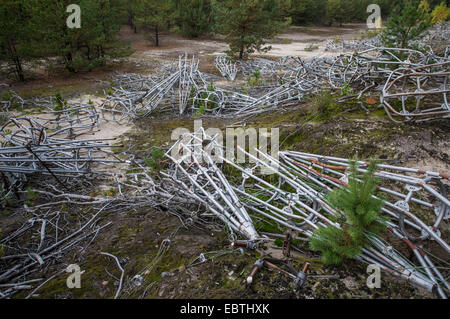 cylindrical cages of driven elements Duga-3 Soviet radar system in Chernobyl-2 military base - Chernobyl Exclusion - Stock Photo