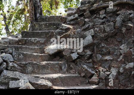 stone stairs  in the ruins of Copan, Honduras, Copan - Stock Photo