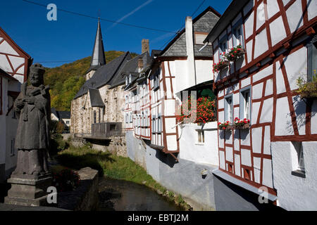 half-timbered houses in the historical city centre, Germany, Rhineland-Palatinate, Monreal - Stock Photo