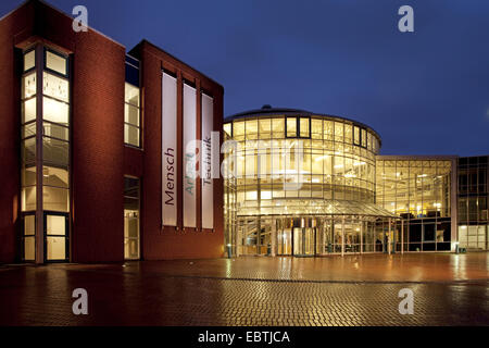 building of DASA Working World Exhibition in twilight, Germany, North Rhine-Westphalia, Ruhr Area, Dortmund - Stock Photo