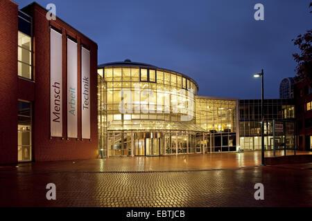 building of DASA Working World Exhibition in twilight, Germany, North Rhine-Westphalia, Ruhr Area, Dortmund - Stock Photo