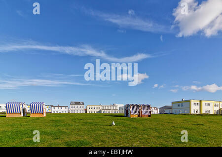 holiday houses and beach chairs on Norderney, Germany, Lower Saxony, East Frisia, Norderney - Stock Photo