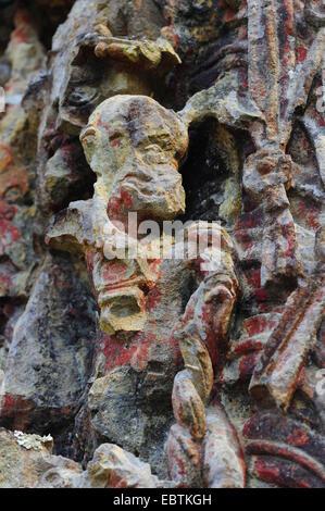 sculpture of Mayan Indian in Copan, Honduras, Copan - Stock Photo