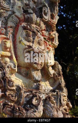 sculpture of Mayan Indian in Copan, Honduras, Copan, Copan - Stock Photo