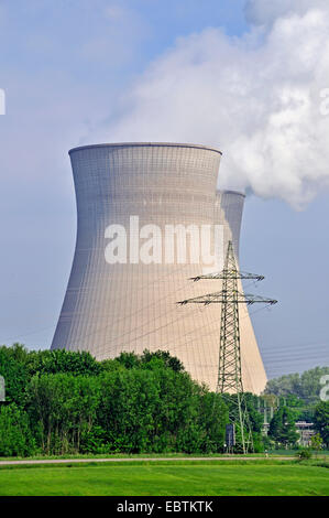 cooling tower of nuclear power stations, highly efficient of Germany, Germany, Bavaria, Gundremmingen - Stock Photo