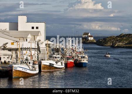fishing boats on the wharf, Norway, Rogaland, Karmoy, Skudeneshavn - Stock Photo
