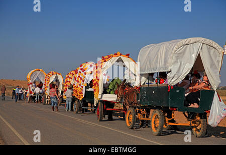 procession with carriages, Spain, Coria del Rio - Stock Photo