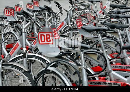 rental bikes of Deutsche Bahn AG, Germany, Cologne - Stock Photo