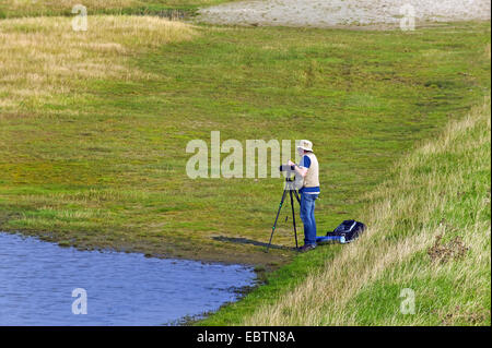photographer in the saltmarshes of Schillig, Germany, Lower Saxony, Frisia - Stock Photo