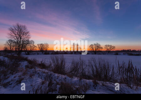 Winter landscape, dawn over the river, morning - Stock Photo
