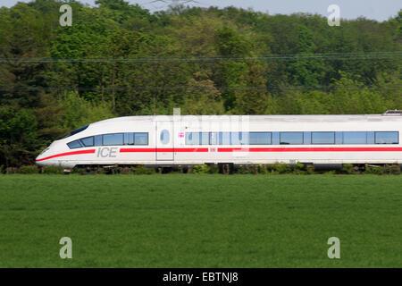 express train ICE 3, Germany, North Rhine-Westphalia, Duisburg-Rahm - Stock Photo