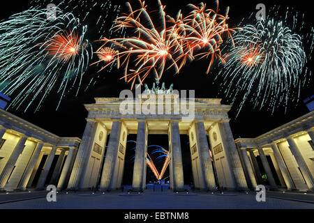 fireworks at Brandenburg Gate, Germany, Berlin - Stock Photo