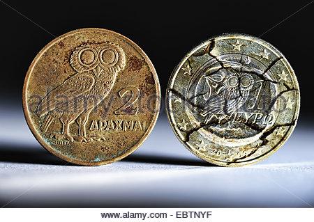 old Greek drachma with broken Greek Euro, Greece - Stock Photo