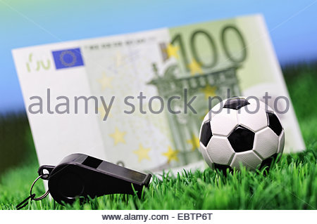 football in a lawn with 100 Euro bill and whistle, Germany - Stock Photo