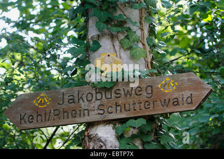 trail sign to Way of St. James , Germany, Baden-Wuerttemberg, Ortenau - Stock Photo