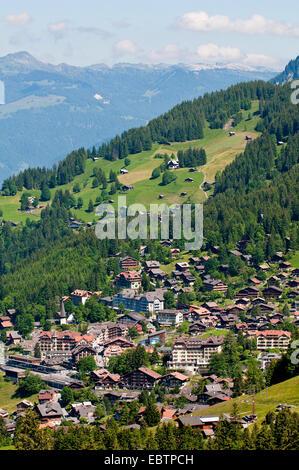 Wengen in the Lauterbrunnen Valley, Switzerland, Bernese Oberland - Stock Photo