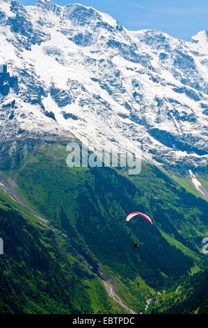 paraglider at Jungfrau massif, Switzerland, Bernese Oberland, Muerren - Stock Photo