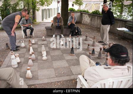 Men playing chess in Old town, Switzerland, Zurich - Stock Photo