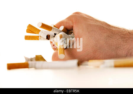 a man's hand with crumpled-up cigarettes - Stock Photo