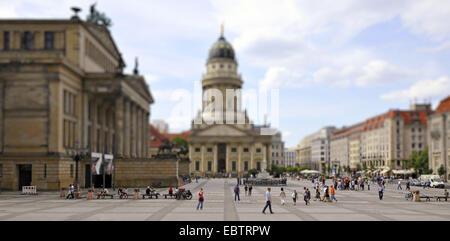 Franzoesischer Dom, Konzerthaus Berlin, Gendarmenmarkt and Schinkelbau, tilt-shift effect, Germany, Berlin - Stock Photo