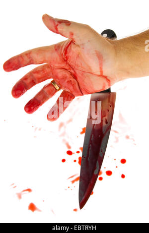 knife smeared with blood, murder weapon - Stock Photo