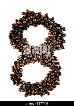 Number eight made from coffee beans - Stock Photo