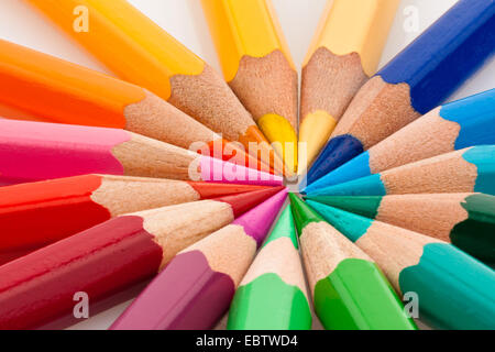 different colored pencils on white background - Stock Photo