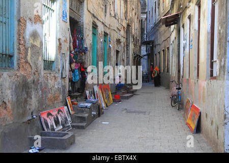 alley in old city, Tanzania, Sansibar, Stone Town - Stock Photo