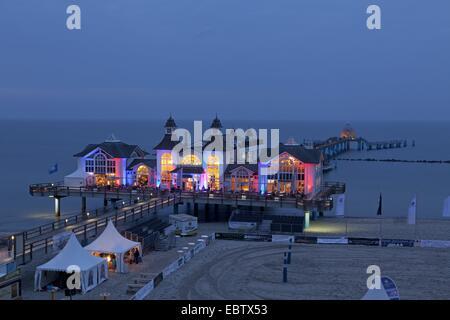 evening photograph of the pier, Sellin, Ruegen Island, Mecklenburg-West Pomerania, Germany - Stock Photo