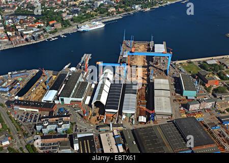 Howaldtswerke and cruise ship Aida Cara, Germany, Kiel - Stock Photo