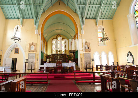 view from nave at the presbytery of St.George's Anglican Church, Saint Vincent and the Grenadines, Kingstown - Stock Photo
