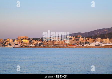 skyline at sunrise, Spain, Balearen, Majorca, Palma - Stock Photo