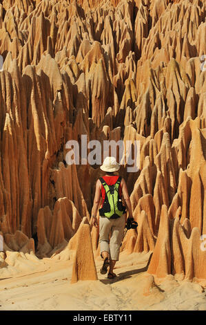 tourist in red karst limestone formation, Madagascar, Nationalpark Tsingy de Bemaraha, Tsingy - Stock Photo