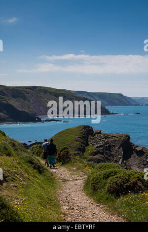 Rambling along the North Devon coast - Stock Photo