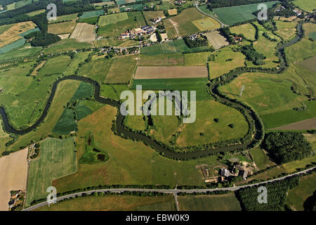 course of a Lippe river near Bergkamen with cut-off meander, Germany, North Rhine-Westphalia, Ruhr Area, Bergkamen - Stock Photo
