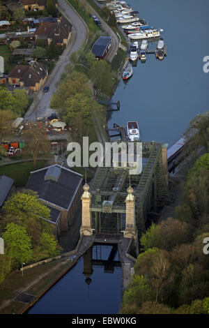 Industrial Museum Ship Lift Henrichenburg at Dortmund Ems channel in the morning, Germany, North Rhine-Westphalia, - Stock Photo