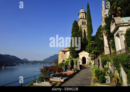 church of Morcote at Lago di Lugano, Switzerland, Ticino, Morcote - Stock Photo