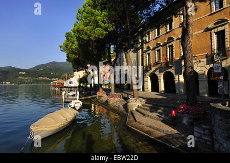 promenade of Morcote at Lago di Lugano , Switzerland, Ticino, Morcote - Stock Photo