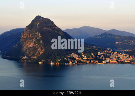 San Salvatore mountain at lake Lugano, Switzerland, Kanton Tessin, Lugano - Stock Photo